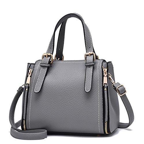 KCNSJ Women Messenger Bags Vintage Crossbody Shoulder Bag Women Bag Pu Leather Handbag Female Bucket Gray 25x12x18cm