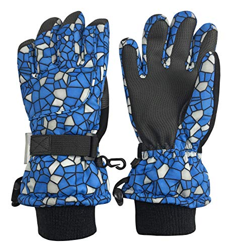 N'Ice Caps Kids Scroll Print Waterproof Thinsulate Insulated Winter Snow Gloves (Royal Shattered Glass, 5-7 ()
