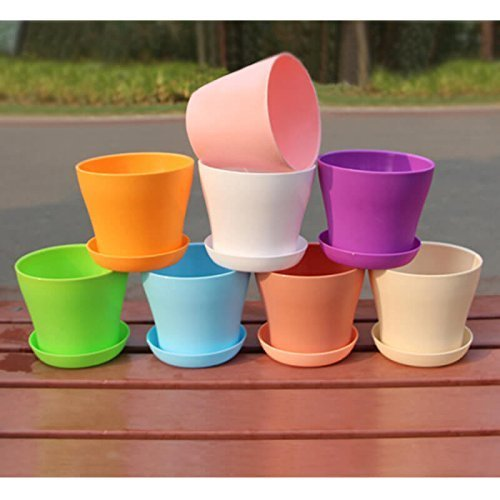 KINGLAKE 8 Pcs 4'' Plastic Plant Flower Seedlings Nursery Pot/Pots Planter Colorful Flower Plant Container Seed Starting Pots with Pallet,8 Colors by KINGLAKE (Image #6)