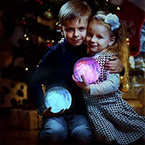 XIARUI Night Light for kids Star Moon Lamp,16 Colors LED 5.9 Inch 3D Printing Star Moon Light with Stand,Remote Control & Touch Sensor USB Recharge Dimmable Moonlight for Valentine's Day Birthday Gift