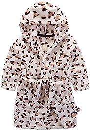 Kids Bathrobe Hooded Nightgown Cute Pajamas Flannel Sleepwear Robes Loungewear
