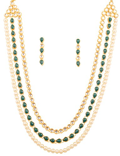 NEW! Touchstone Indian Bollywood Exclusive Kundan Polki Look Exclusive Traditional Attire Side Clasp Long Designer Jewelry Necklace Set With Faux Pearls And Green Faux Emerald For Women In Gold Tone.