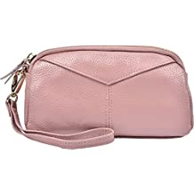 Yeeasy Women's Genuine Leather Wallet Clutch Bag Zipper Wristlet Purse Handbag (Pink)