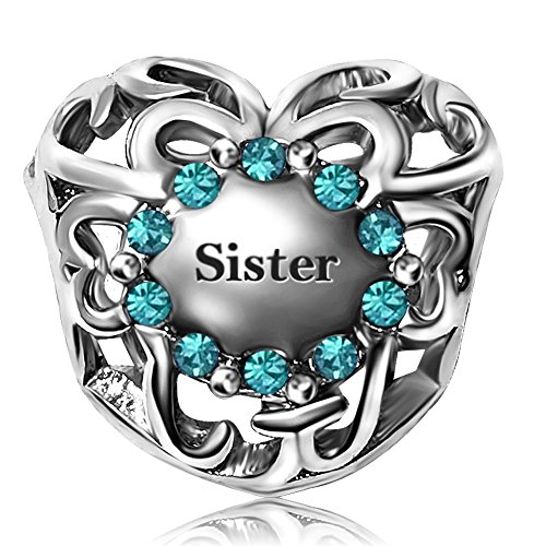 JMQJewelry Sister Heart Love Charm December Birthstone Rhinestone Beads For Charms Bracelet