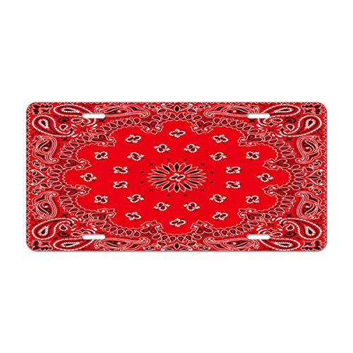 Mugod Western Paisley Aluminum License Plate Bandana Seamless Pattern with Red and White Ornaments Decorative Car License Plate Cover with 4 Holes Car Tags 6