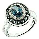 RB Gems Sterling Silver 925 Ring LONDON BLUE TOPAZ and WHITE TOPAZ 3.05 Carats with RHODIUM-PLATED Finish (5)