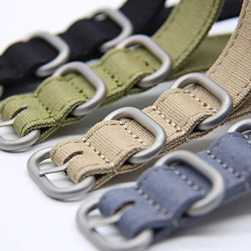 20mm Rugged Army Green Stitched Canvas Watch Strap for Men and Women NATO Straps Cotton Canvas Watch Bands by CHICLETTIES (Image #2)