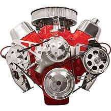 NEW BILLET SPECIALTIES BIG BLOCK CHEVY POLISHED FRONT ENGINE SERPENTINE CONVERSION KIT WITH PRESS-ON POWER STEERING PUMP PULLEY & BRACKET, MIDDLE PASSENGER-SIDE ALTERNATOR MOUNTING BRACKET, BBC WATER PUMP, CRANK, & ALTERNATOR PULLEYS