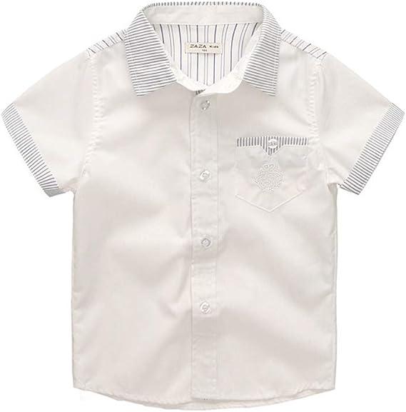 ALLAIBB Niño niños Camisa Blanca Manga Corta Camisa de Caballero ...