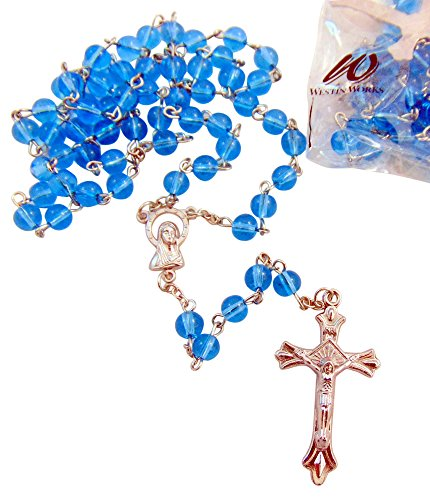 (Blue Rosaries Bulk Lot for Students or Church Groups Rosary Set, Pack of 10)