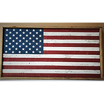 Rustic Wood American Flag (framed)
