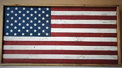 Flag Cottage - Rustic Wood American Flag (framed)