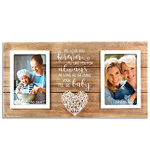 VILIGHT Mother's Day and Wedding Gifts for Mom from Daughter Son - Mother of Bride Groom Picture Frame - Forever Your Baby I'll Be - Holds Two 4x6 Photos