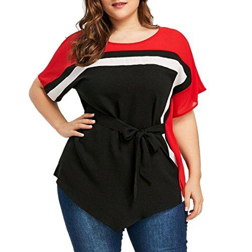 03a0fff4379 Inverlee Women Loose Casual Plus Size Batwing Sleeve Tie Belt Asymmetric  Blouse Summer Short Sleeve Tops