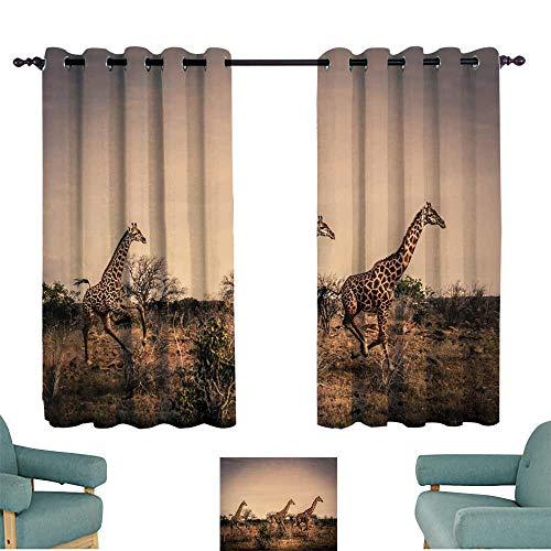 WinfreyDecor Simple Curtain African Giraffe Running in The Wild Savanna (Kenya) 70%-80% Light Shading, 2 Panels,55