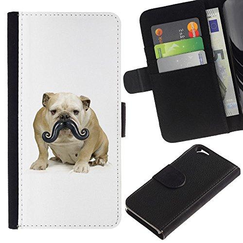 LASTONE PHONE CASE / Luxe Cuir Portefeuille Housse Fente pour Carte Coque Flip Étui de Protection pour Apple Iphone 6 4.7 / Moustache Bulldog Small Dog Funny