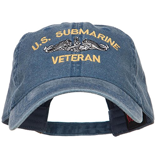 e4Hats.com US Submarine Veteran Military Embroidered Washed Cap - Navy OSFM (Ball Veteran Caps Military)