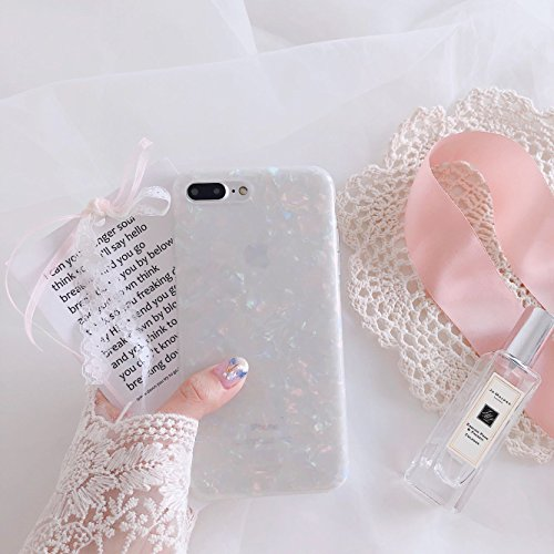 iPhone 7 Plus / iPhone 8 Plus Case for Girls, Glitter Pearly-lustre Translucent Shell Pattern Phone Case [Flexible Soft, Slim Fit, Full Protective] for iPhone 7Plus / iPhone 8Plus 5.5 Inch (Colorful)
