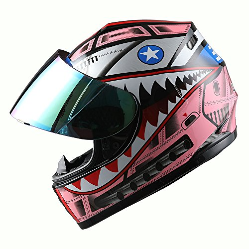 WOW Motorcycle Full Face Helmet Street Bike BMX MX Youth Kids Shark Pink