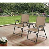 Mainstays Pleasant Grove Sling Bistro, Dining and Seating Outdoor Patio Furniture Folding Chair Set of 2 - Tan