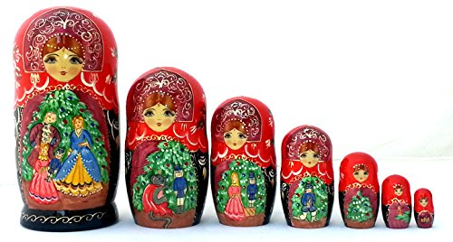 Nutcracker fairy tale Russian Hand Carved Hand Painted Nesting 7 piece DOLL Set 7'' tall / ballet by BuyRussianGifts (Image #1)