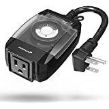 Outdoor Timer Outlet, Fosmon 15A 24-Hour Mechanical Light Timer, 3-Prong ETL Listed Water Resistance and Heavy Duty Grounded Outlet with 7inch Power Cord - Black