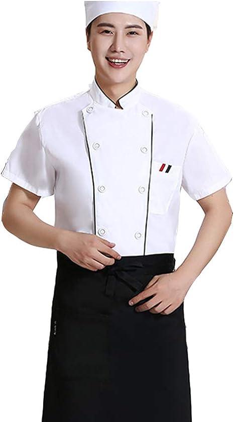Hombres Chaqueta Chef Blanco con Ribete Negro Tubería de Contraste Camisa de Cocinero para el Hotel Banquete Cocina: Amazon.es: Deportes y aire libre