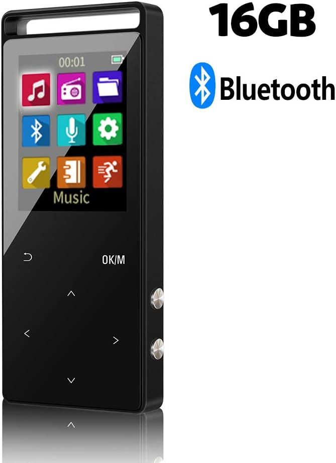 16GB Bluetooth Reproductor de Música Digital MP3 con 50 Horas de Reproducción,Un Boton para Bloquear&un Boton para Grabar,Soporta hasta 64GB,HiFi,Radio FM y Audio Libro con Funciones de Marcador