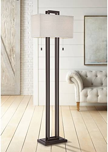 Modern Floor Lamp Double Tier Bronze Oat Meal Linen Rectangular Shade