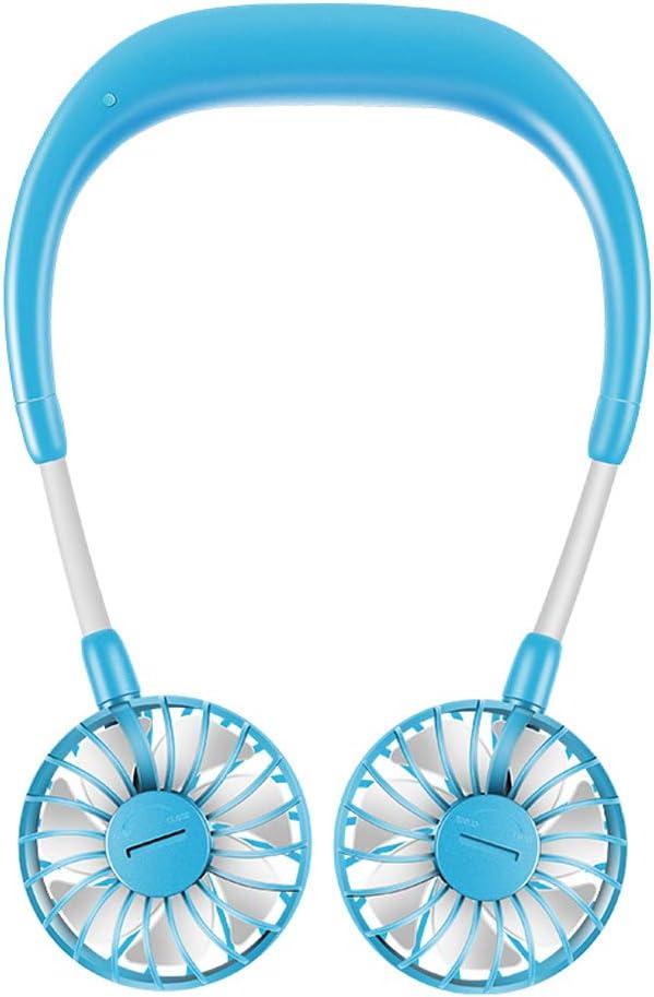 Abanico de Cuello,Ajustable Mano Libre Personal Cuello Doble Ventiladores Diseño de Auriculares Portátil Mini Ventilador con USB y Rotación de 360 Gradospara Aire Libre Oficina de Viaje (Blue)