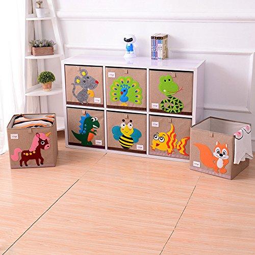 Kids Storage Cube Organizer Toy Box Kids Bedroom Furniture: Wo Baby Foldable Canvas Fabric Toy Storage Box/Cube/Bin