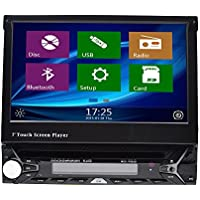 Universal in Dash Single 1DIN CD/DVD MultiMedia Headunit 7-Inch Flip Out Touch Screen, Bluetooth Receiver, Built-In Mic, Hands-Free Call Answering, Integrated GPS Navigation System