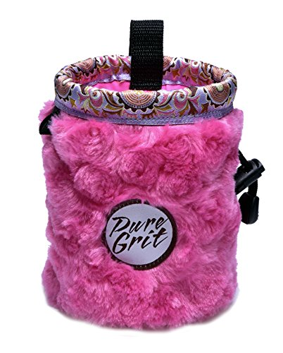 Little Kid Sized I LOVE Pink Chalk Bag For 3-8 Year Olds (USA made) by Pure Grit by Pure Grit