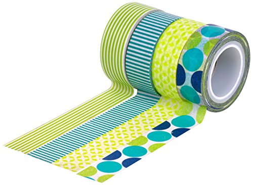- HIART Repositionable Washi Tape, Dots and Stripe Mother Nature, Green Blue, Set of 4