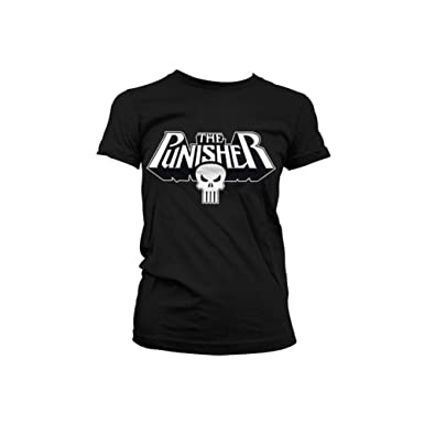 2dfbdb82 Amazon.com: Marvel Officially Licensed Merchandise The Punisher Logo Girly T -Shirt: Clothing