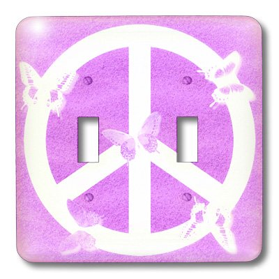 3dRose LLC lsp_40235_2 Pink Sand Peace Sign Butterflies- Inspirational Art, Double Toggle Switch (Sign Sand Peace)