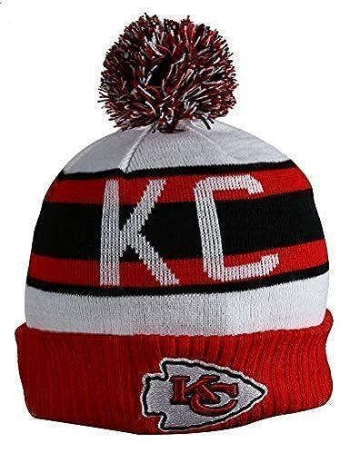950eb685569 Amazon.com  Unisex Adults KC CHIEFS Winter Knit Beanie PomPom Hat One Size  Multicolor  Clothing