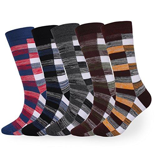 Mens Plaid Crew Socks 5 Pairs Striped Pattern Business Mid Calf- Toe Heel Cotton Dress Socks by SUMBAGO (Red-blue,Brown-orange,Brown-green,Blue-black,Grey-black) (Multicoloured, US Men Size 9.5-12) (Striped Calf Black Leather)