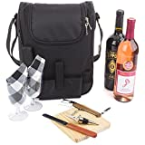 wine carrier tote - Insulated Travel Wine Tote Bag: Portable 2 Bottle Wine and Cheese Waterproof Black Canvas Carrier Bag Set with Picnic Backpack Kit - Wine Opener, Wine Stopper, Wooden Cheese Board and Knife Included