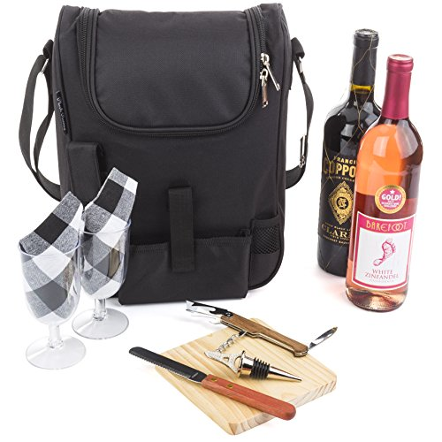 Insulated Travel Wine Tote Bag: Portable 2 Bottle Wine and Cheese Waterproof Black Canvas Carrier Bag Set with Picnic Backpack Kit - Wine Opener, Wine Stopper, Wooden Cheese Board and Knife Included - Wine Backpack