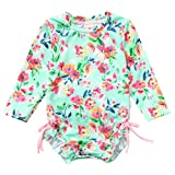 NUWFOR Toddler Baby Girl Kids Swimwear Floral Printed Bikini Swimsuit Beach One Piece (Green,18-24 Months)