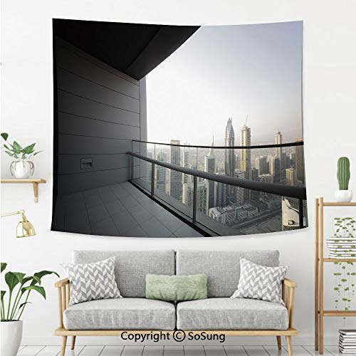 SoSung Modern Decor Wall Tapestry,Arabian City Dubai Landscape Downtown from Balcony Photo Image,Bedroom Living Room Dorm Wall Hanging,80X60 Inches,Charcoal Grey and White