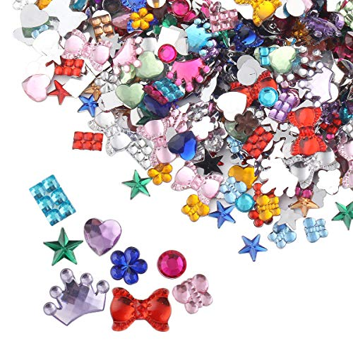 (meicry beads 880 Pcs Gems Acrylic Flatback Rhinestones Gemstone Embellishments 8 Shapes 6-20mm Heart-Shaped,Pentagram,Round, Flower-Shaped,Butterfly,Cravat, Six Square,Crown)