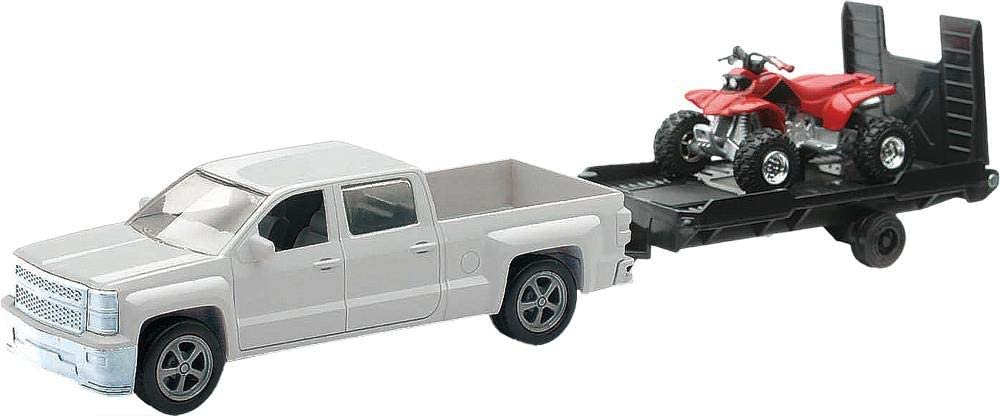 New Ray Toys KIDS TOYS 1:43 Scale Truck and Trailer with ATV White Chevy