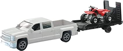 Team Ray Trucks >> New Ray Toys 1 43 Scale Chevrolet Silverado Pick Up W Bike Or Atv Assorted Style And Colors