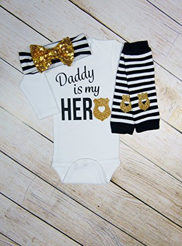 Hero Police Baby Girl Outfit - Customize To Say Daddy, Mommy, Grandpa, Grandma, Uncle or Aunt by Mama Bijou