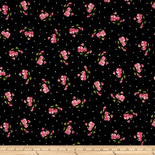 Maywood Studio Sweet Pea Flannel Little Sweet Peas Black Fabric By The Yard (Flannel Maywood Studios)