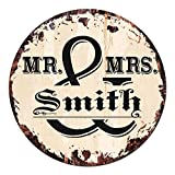 Cheap MR. & MRS. SMITH Circle Sign Rustic Tin Chic Vintage Retro 11.75″ Metal Plate Store Home man cave Decor Funny Gift
