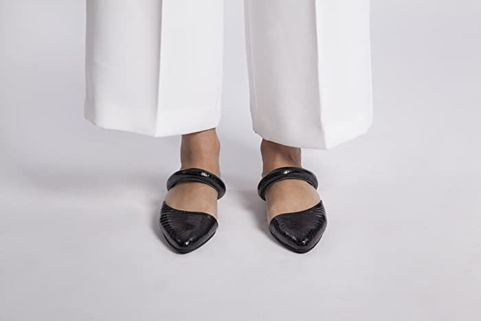 81b5d6e17f925 Amazon.com: Black Patent Italian Leather Flat Mules Featuring Slip ...