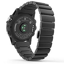 Garmin Fenix 3 Watch Band, MoKo Stainless Steel Metal Replacement Link Bracelet with Double Button Folding Clasp for Fenix 3 / Fenix 3 HR / Fenix 5X Smart Watch - BLACK